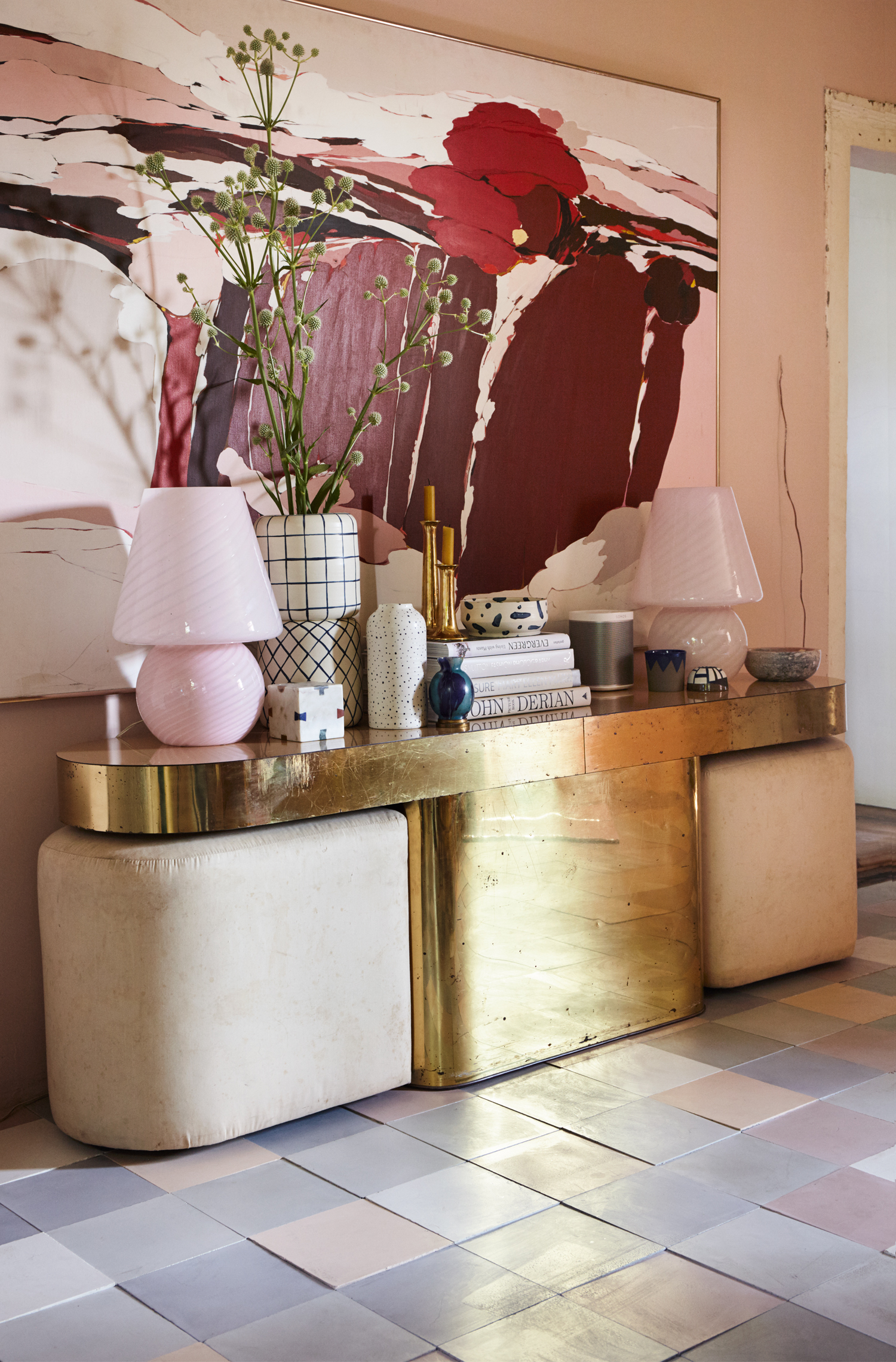 Burgundy, peach and blush pink artwork with gold vintage console table