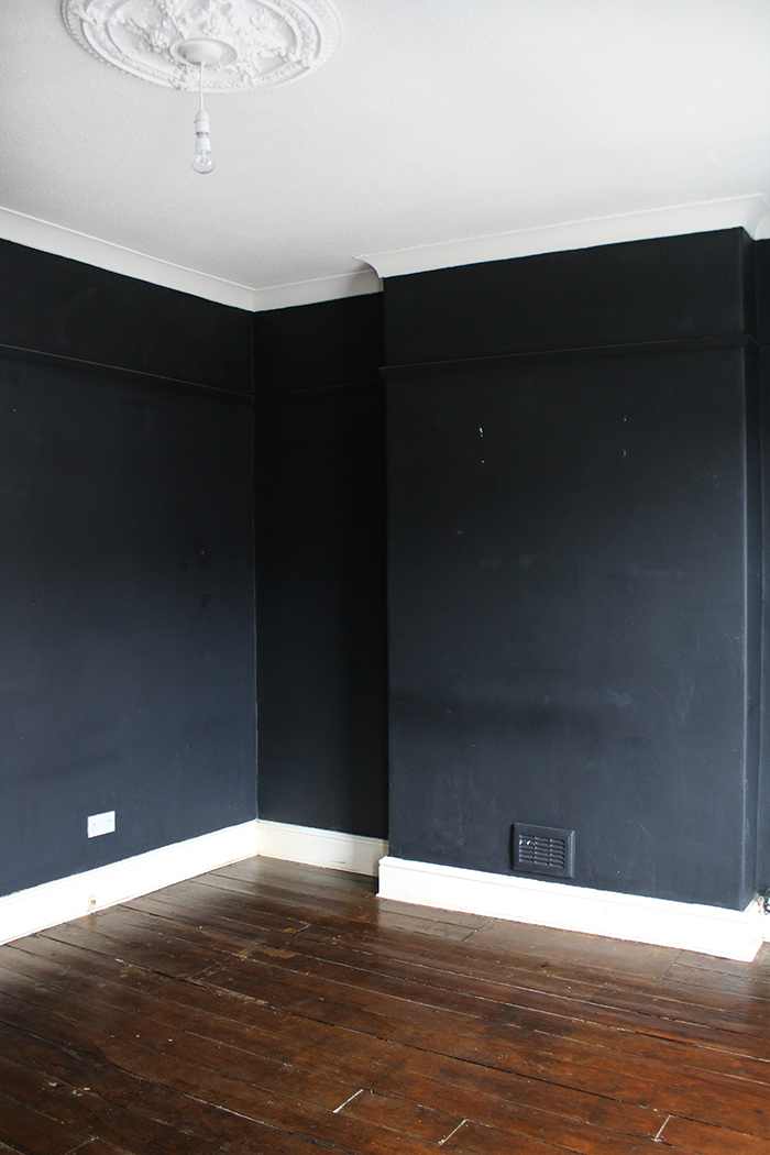Empty room with black walls