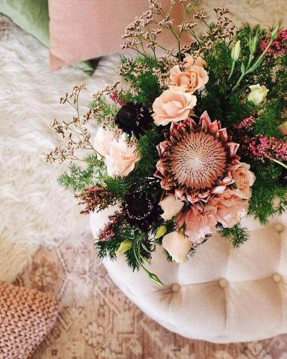 Blush Pink, Peach and Burgundy flower arrangement