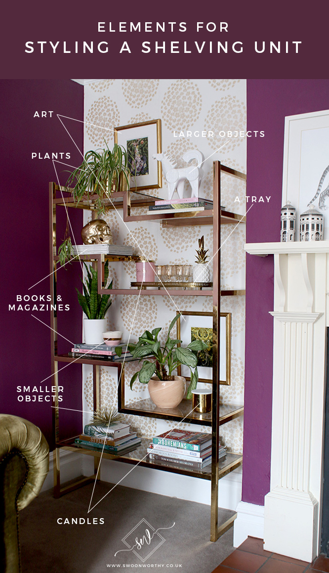 Elements for Styling a Shelving Unit - Step by Step Guide