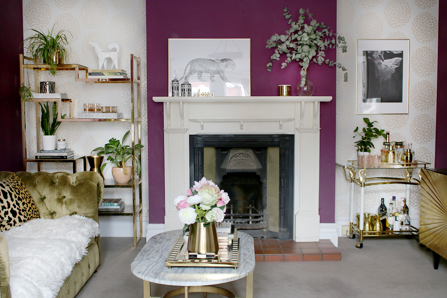 living room with victorian fireplace glam styling