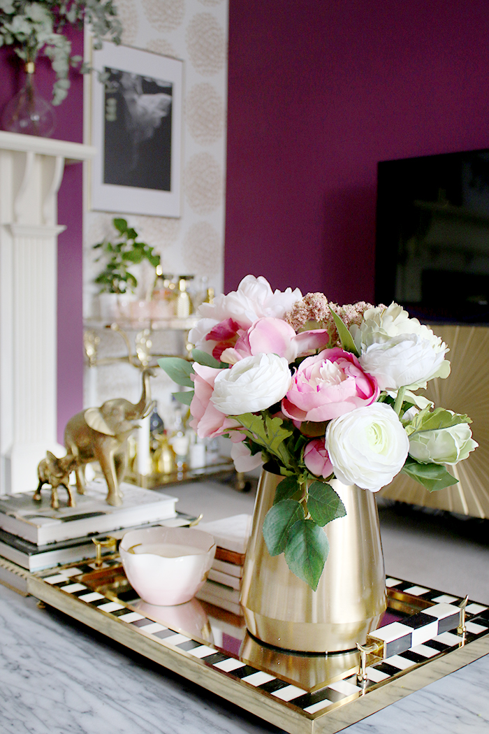 coffee table styling with gold
