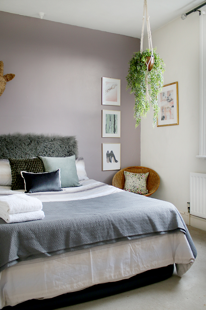 Inexpensive guest bedroom styling grey and lilac