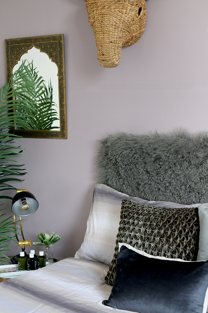 Grey and lilac guest bedroom with boho touches