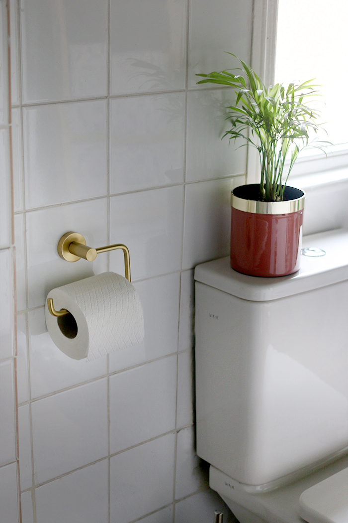 Brushed brass toilet roll holder and pink plant pot