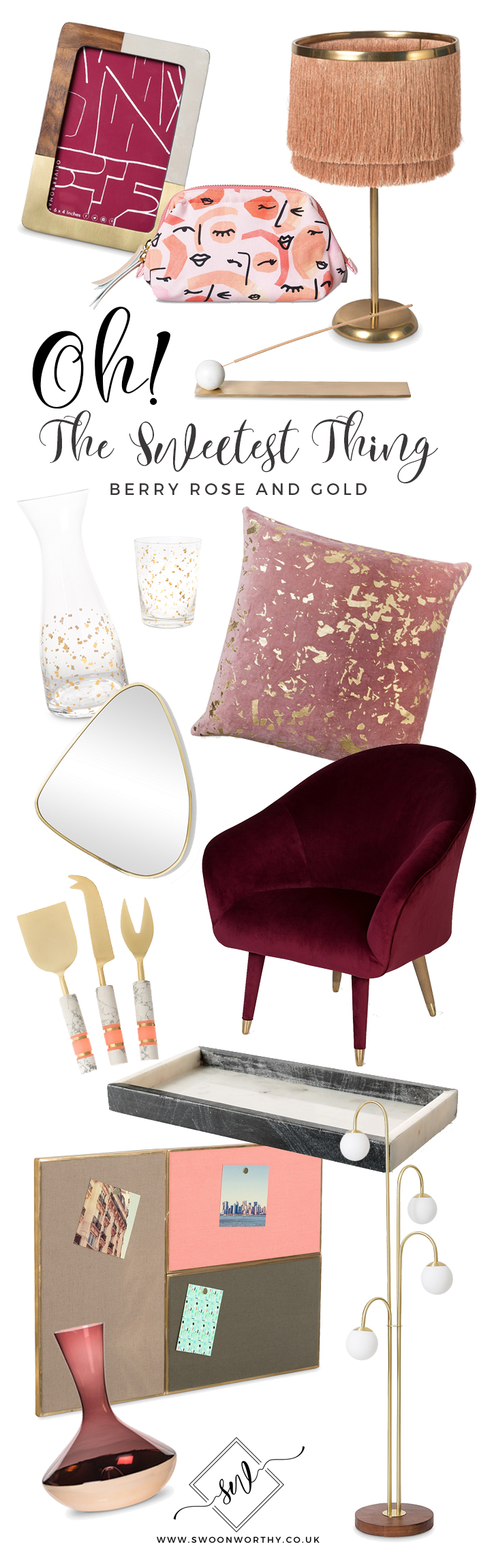 Oliver Bonas Shopping Roundup Buying Guide in Berry Blush and Gold
