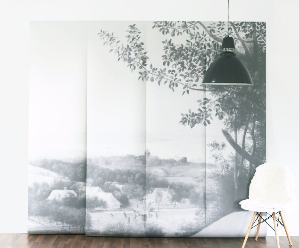 Anewall Harvesters Black and White Vintage Mural