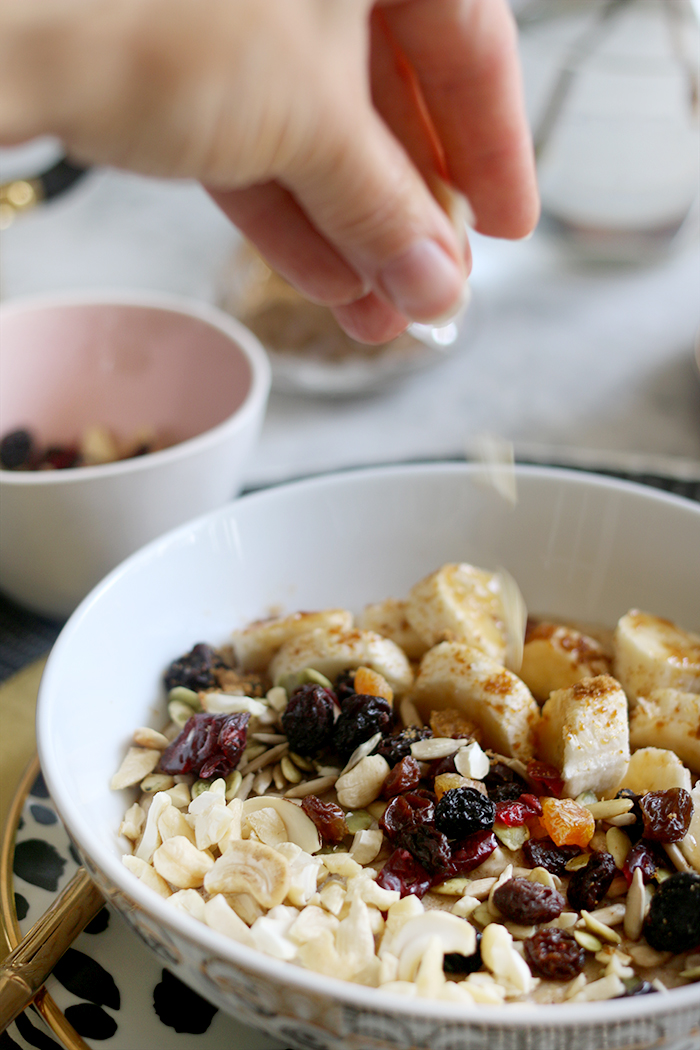 Adding the toppings to my go-to healthy porridge recipe