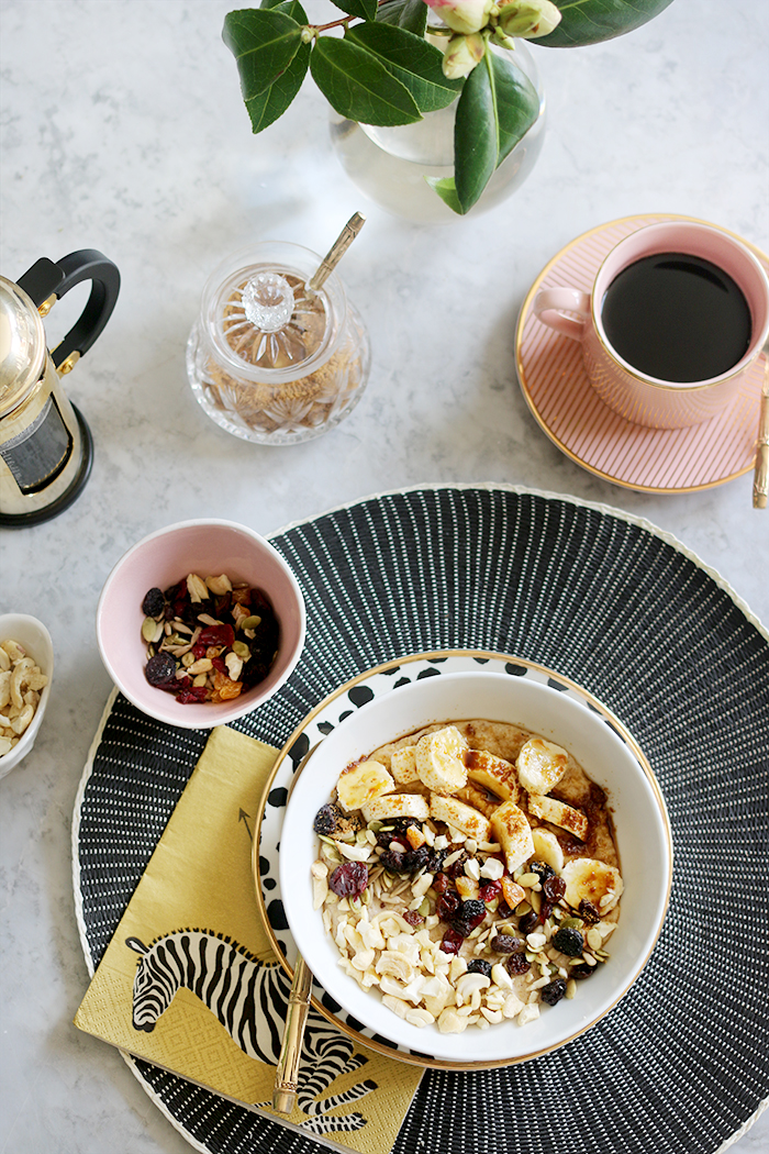 Nutty Porridge Oats with bananas and dried fruit - gluten free and dairy free breakfast recipe