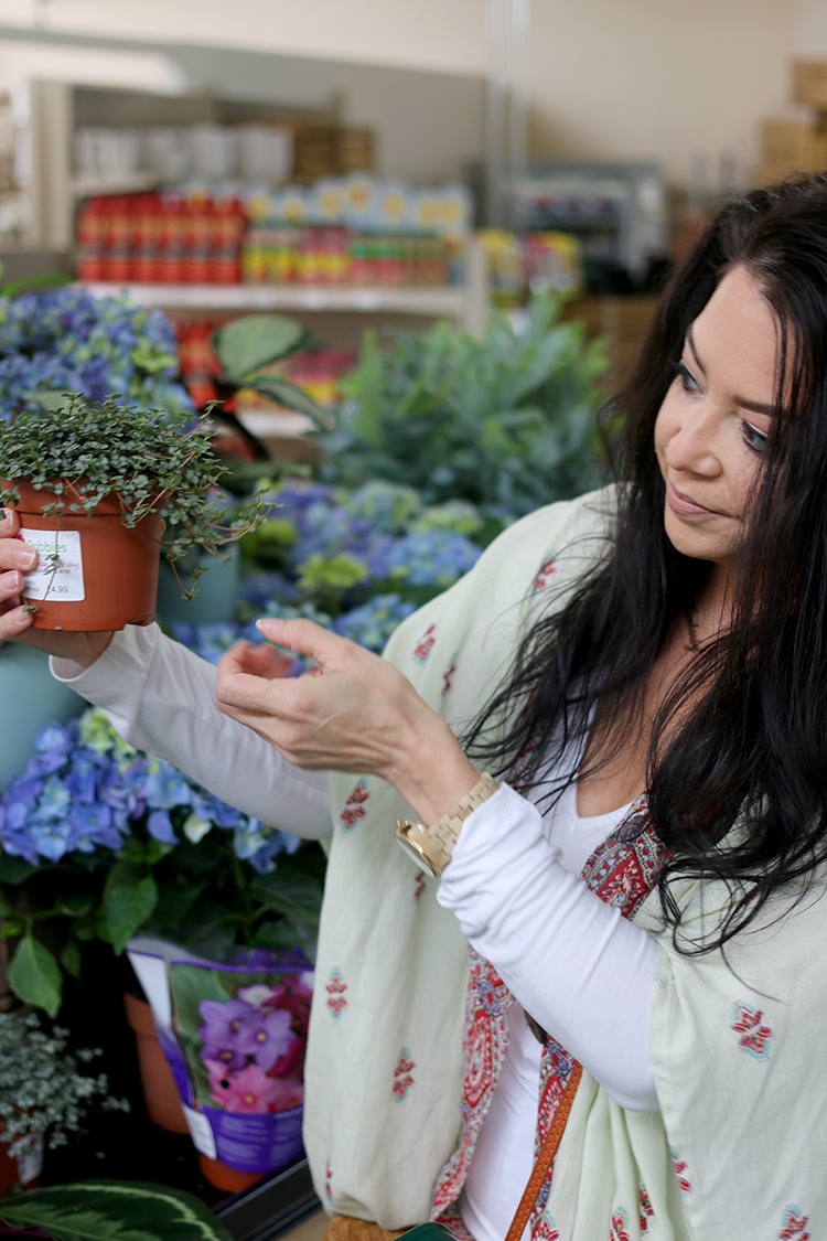 Shopping for Plants in a Garden Centre - checking labels