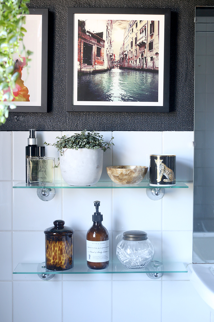 bathroom shelf styling with plants