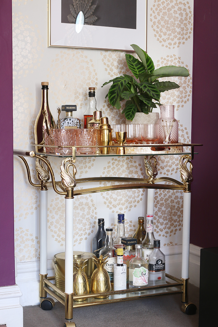 vintage bar cart styling with plants