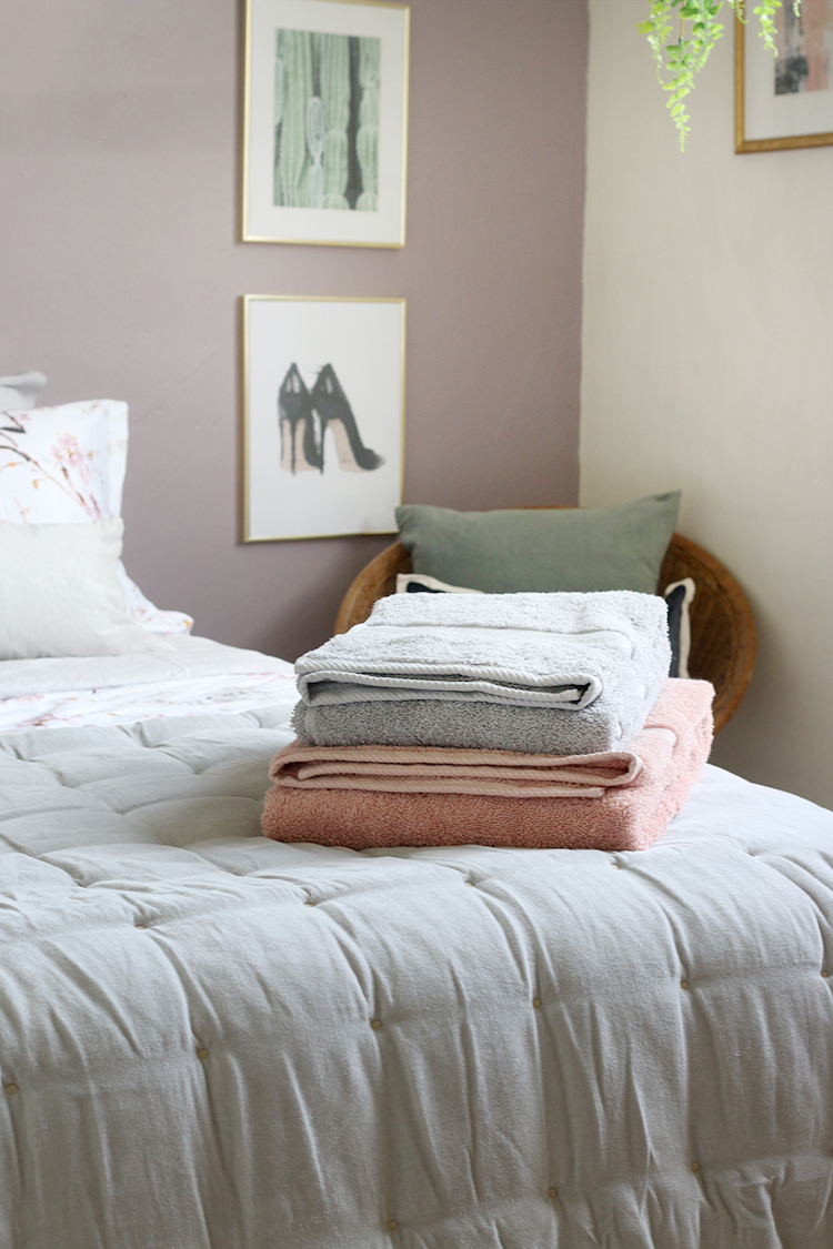 Providing fluffy towels is one of my top tips on how to create the perfect guest bedroom