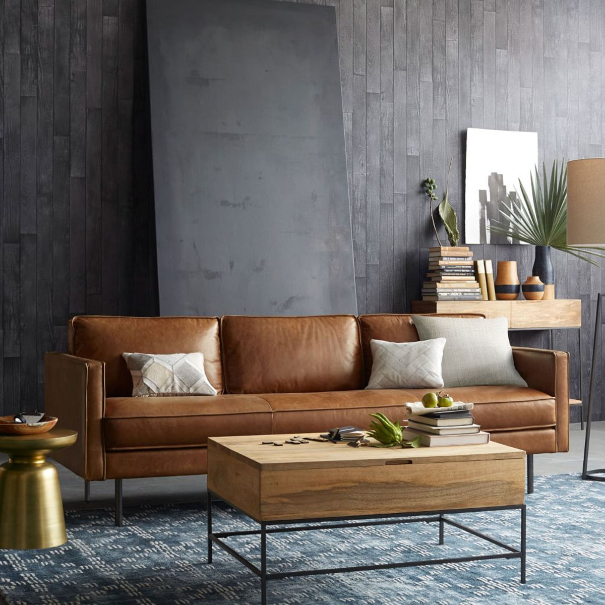 West Elm Axel Brown Leather Sofa