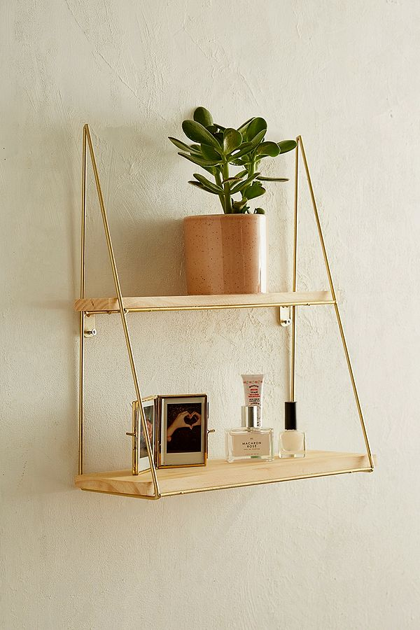 Urban Outfitters gold and wood wall shelf