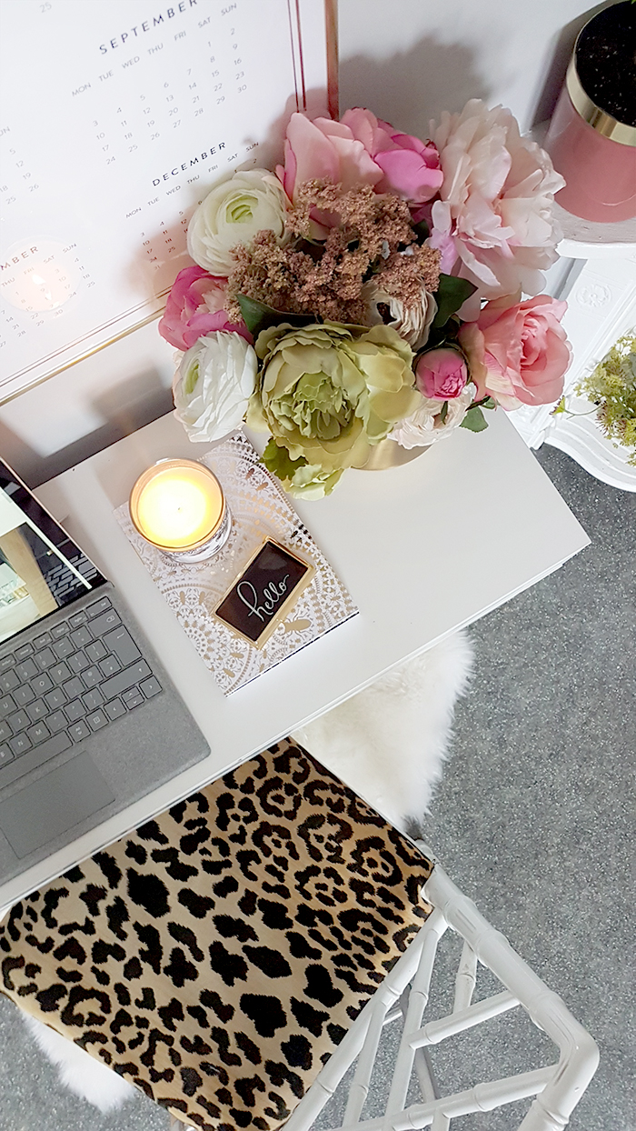 home office design in white pink green and gold