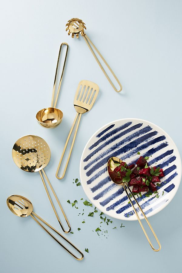 Gold kitchen utensils from Anthropologie
