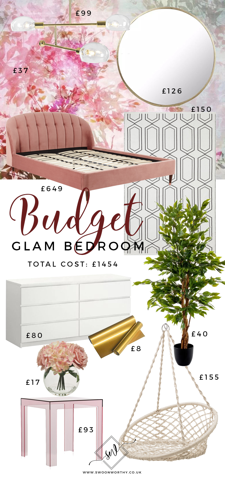 Budget Glam Bedroom Total Price £1454