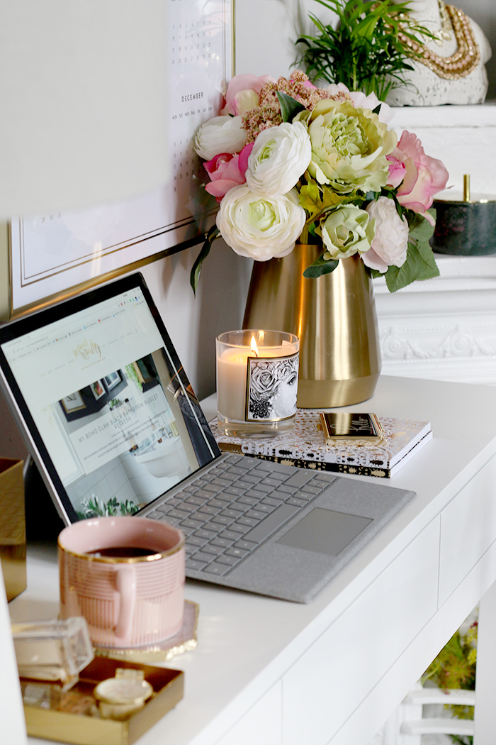 home office desk in white pink and gold