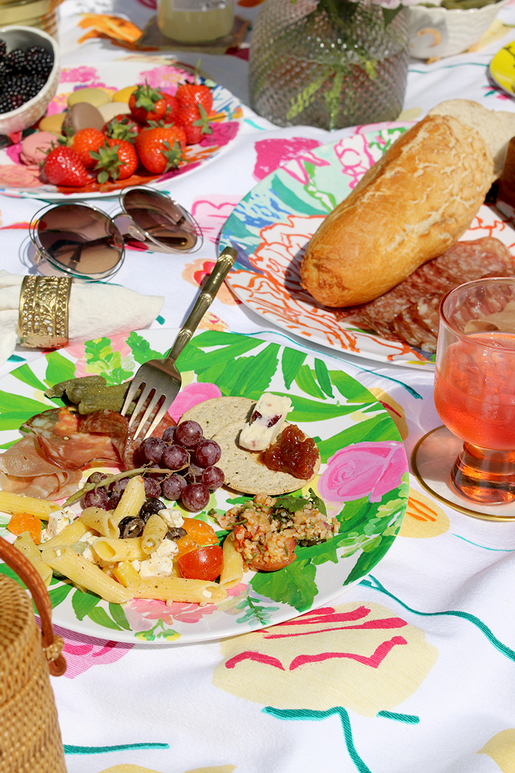 bright and colourful summer picnic styling