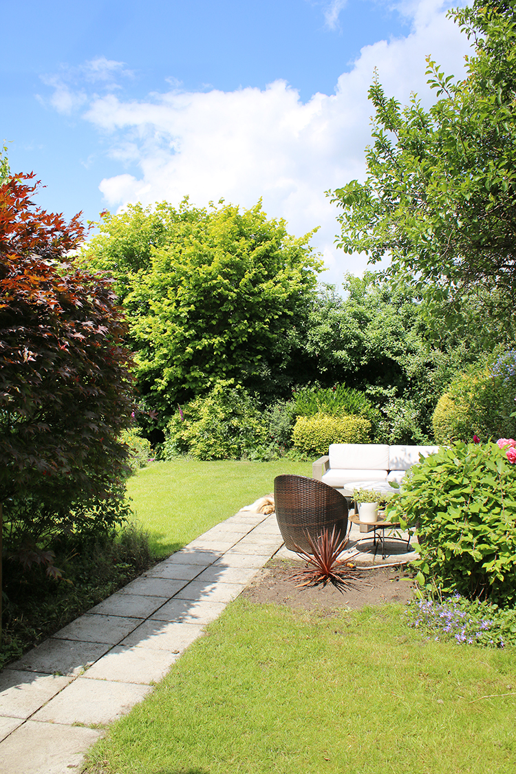 back garden with patio and surrounding trees
