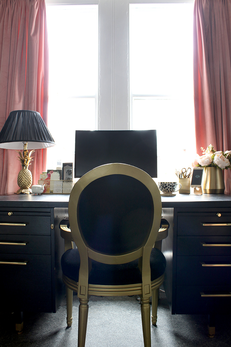 black and gold home office with blush pink curtains