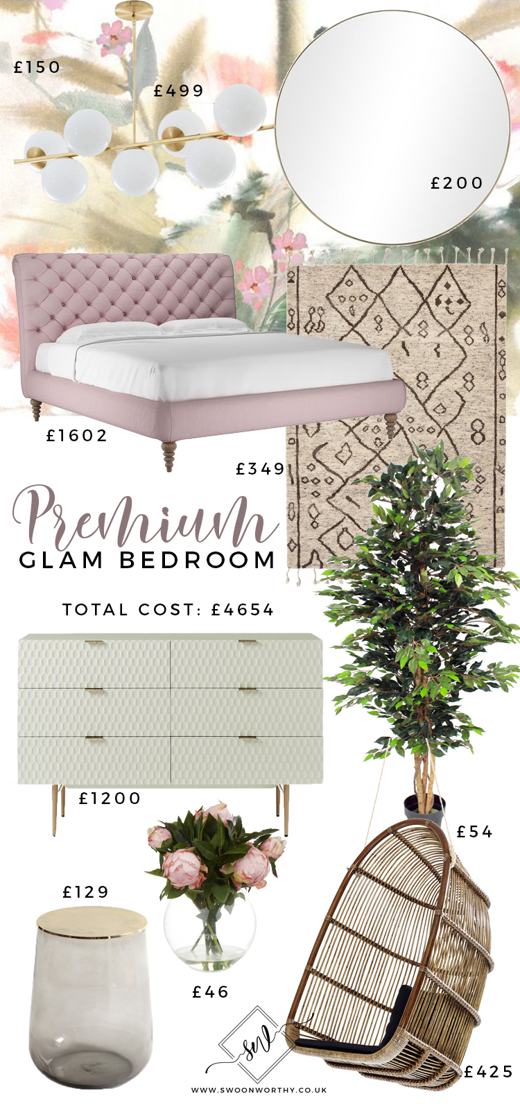 Premium Glam Bedroom - Total Price £4654