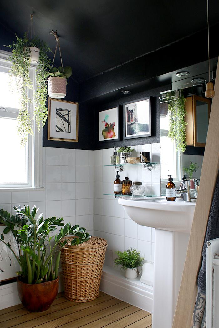 black boho bathroom with plants