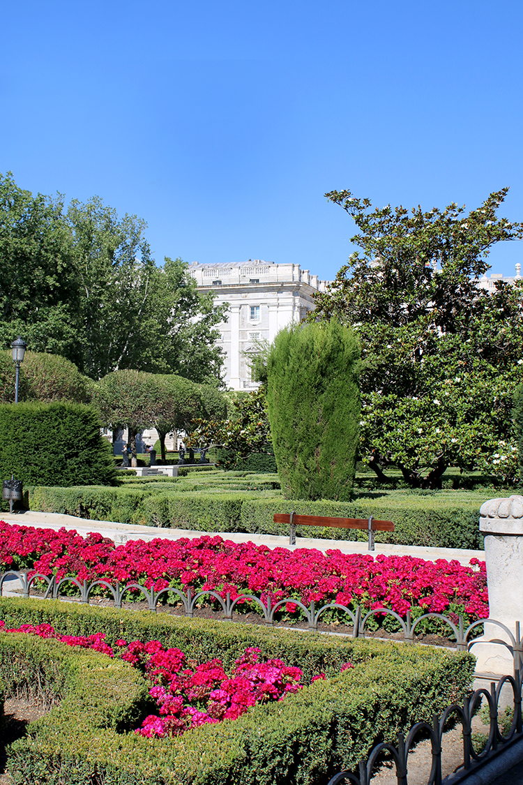 The gorgeous gardens at Palacio Real de Madrid are a must see on a trip to the city