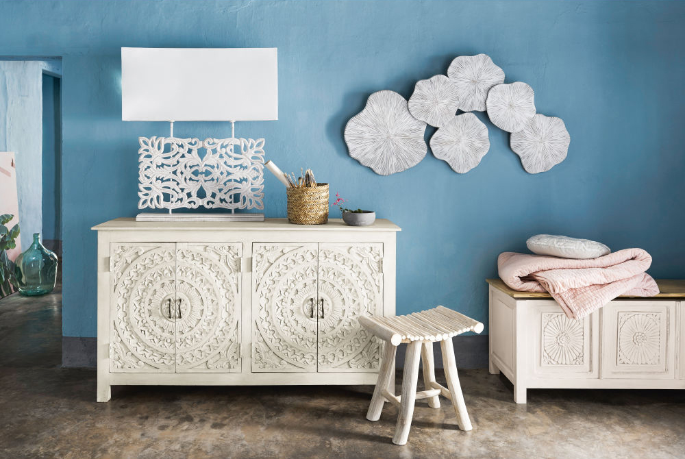 Carved white sideboard from Maisons du Monde