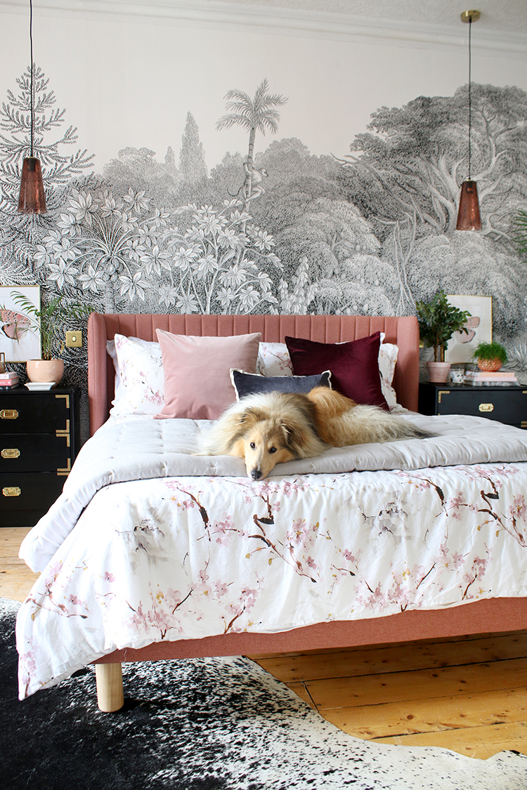 Sheltie dog on pink bed with black and white wall mural and gold accents