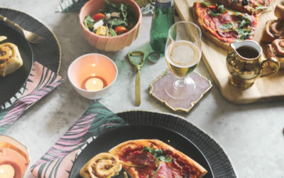 Date Night Pizza & Beer Table Setting