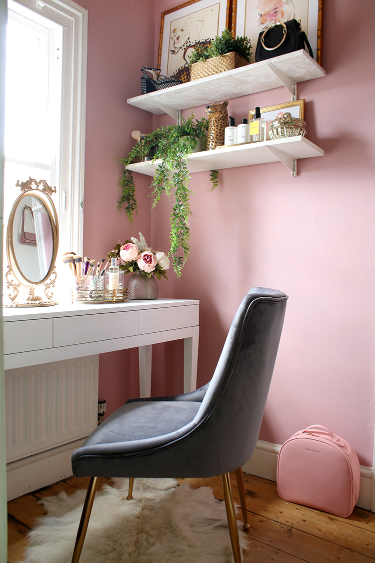 makeup vanity space in pink grey and gold