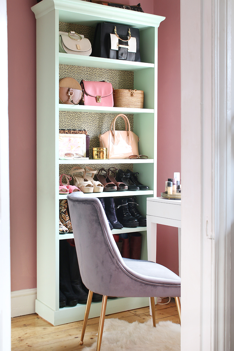 shelving unit in small vanity makeup room - pink mint green grey and gold colour scheme