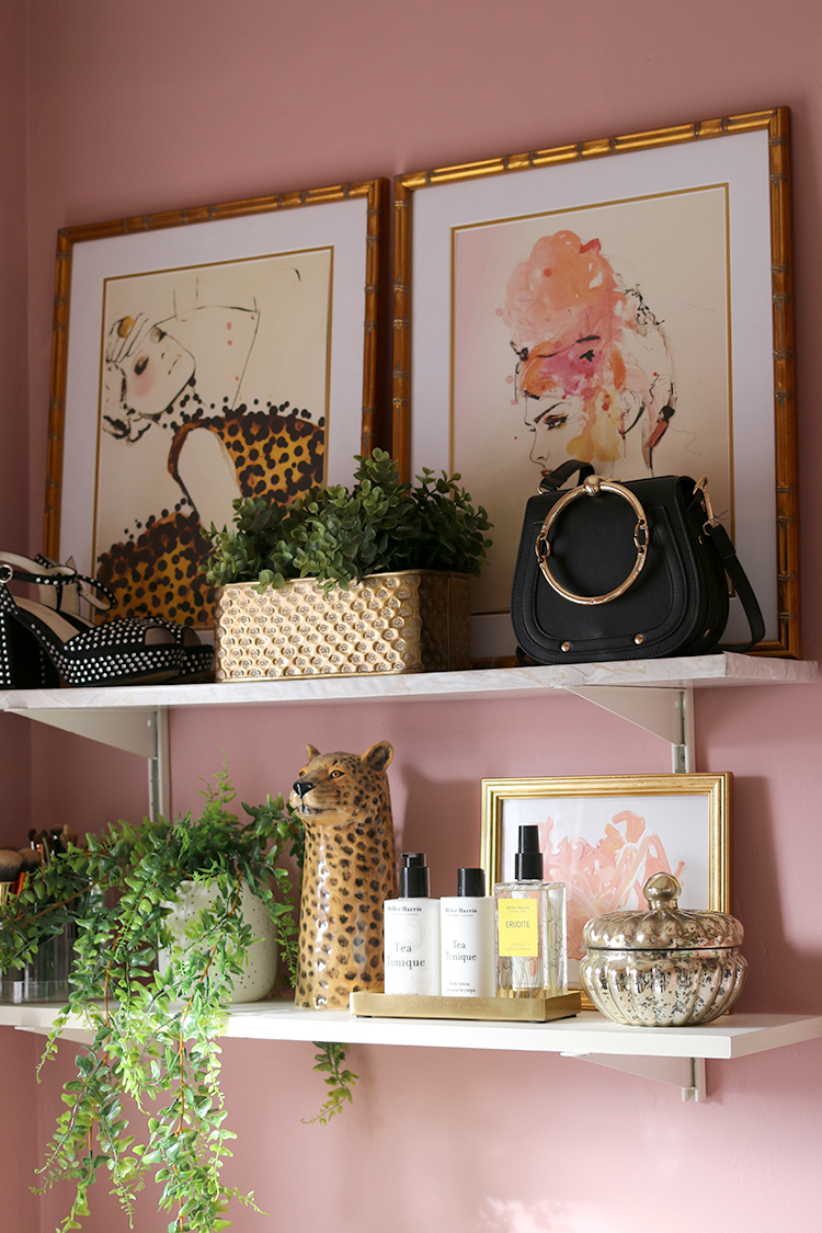 Shelf styling in makeup vanity room