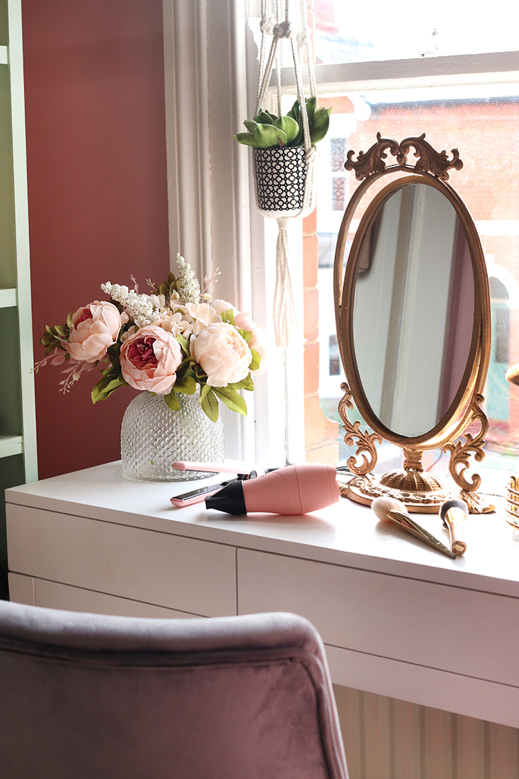 vanity with french style mirror