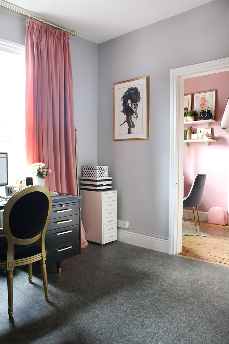 grey and pink home office with vanity room next door