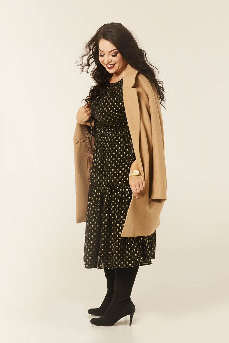 Gold foil mesh dress with camel coat Kaleidoscope AW Petite Range