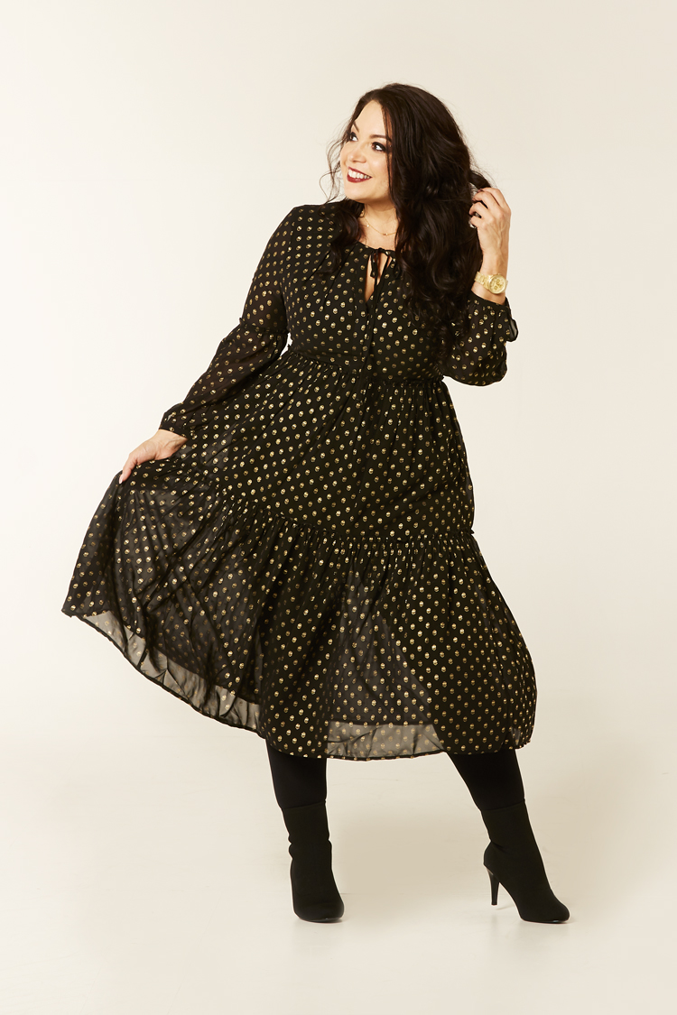Gold foil mesh dress in black boho style #swoonforpetite Kaleidoscope AW Petite Range