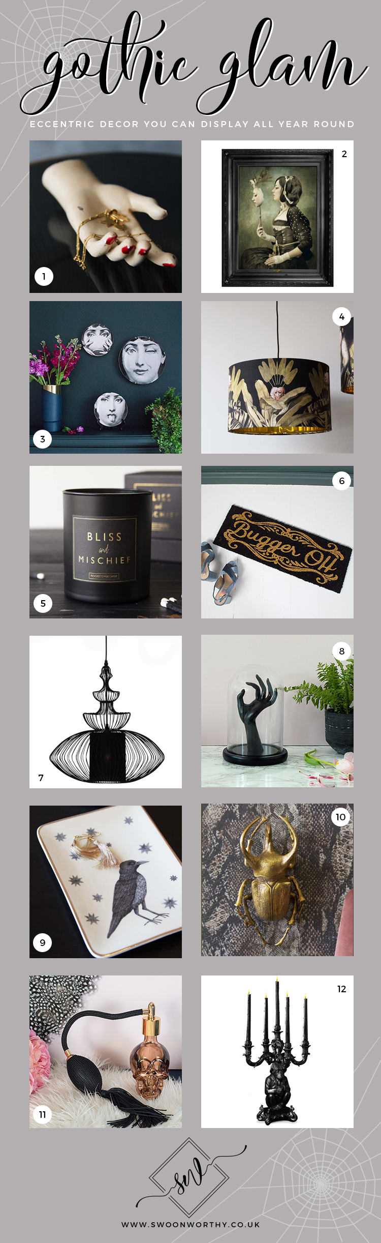 Gothic Glam Decor for Halloween or All Year Long