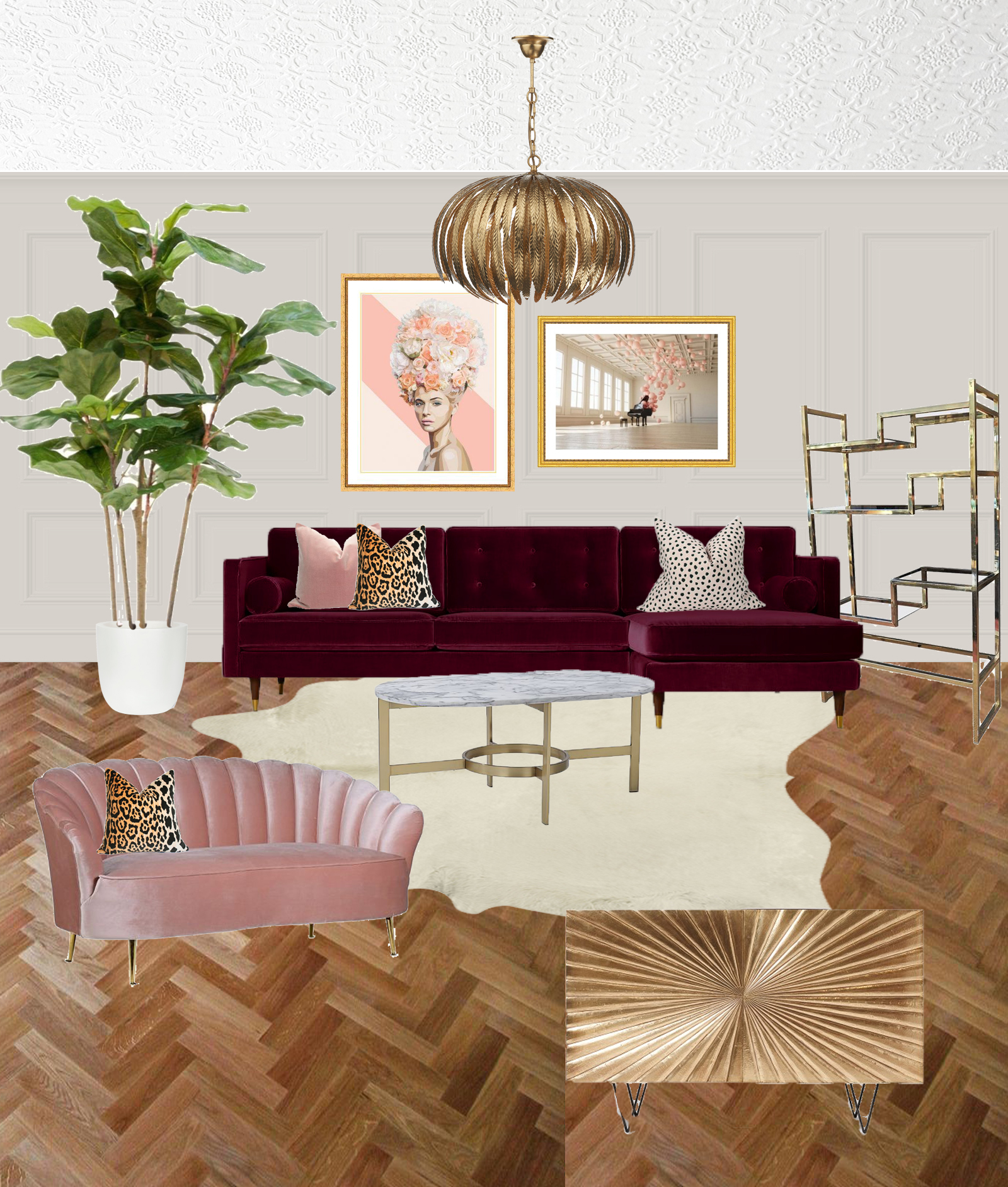 Living Room Moodboard Eclectic Glam