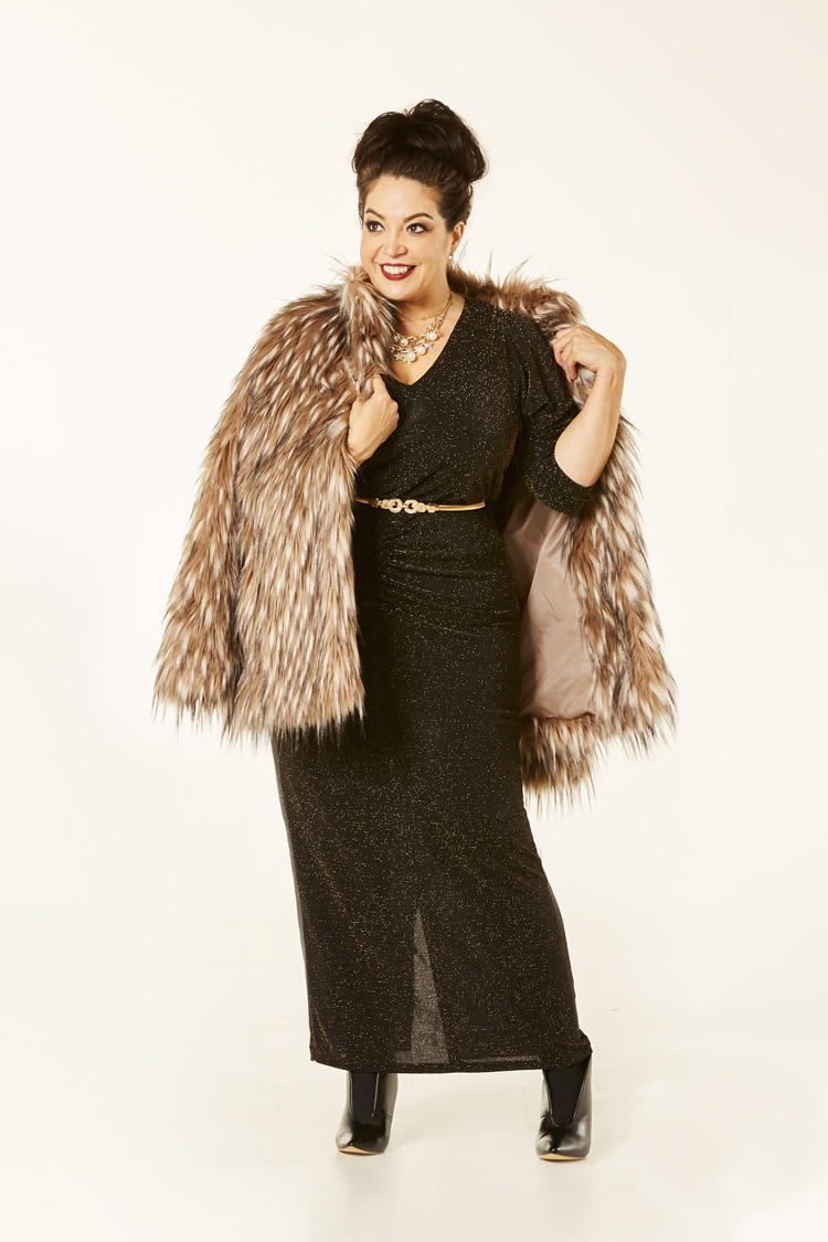 black and gold stretch dress with faux fur coat kaleidoscope petite aw range