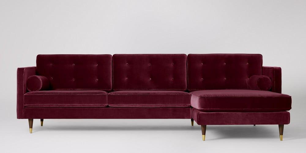 Porto burgundy velvet sofa