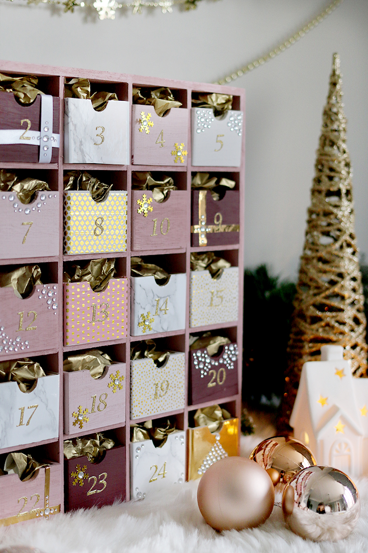 Glam pink and gold reusable DIY Advent Calendar tutorial