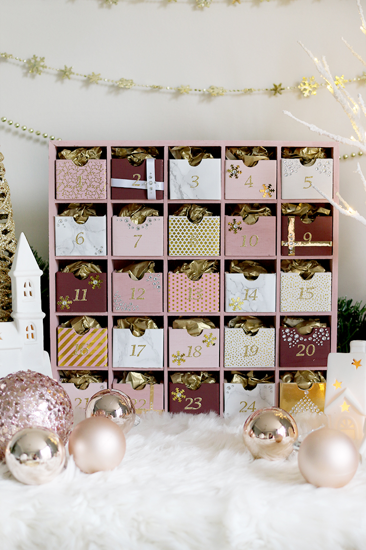 Glam Pink and Gold DIY Reuseable Advent Calendar