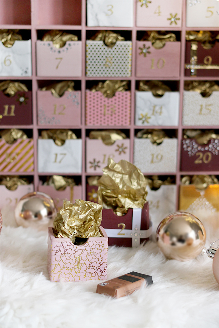 Glam pink and gold DIY Advent Calendar