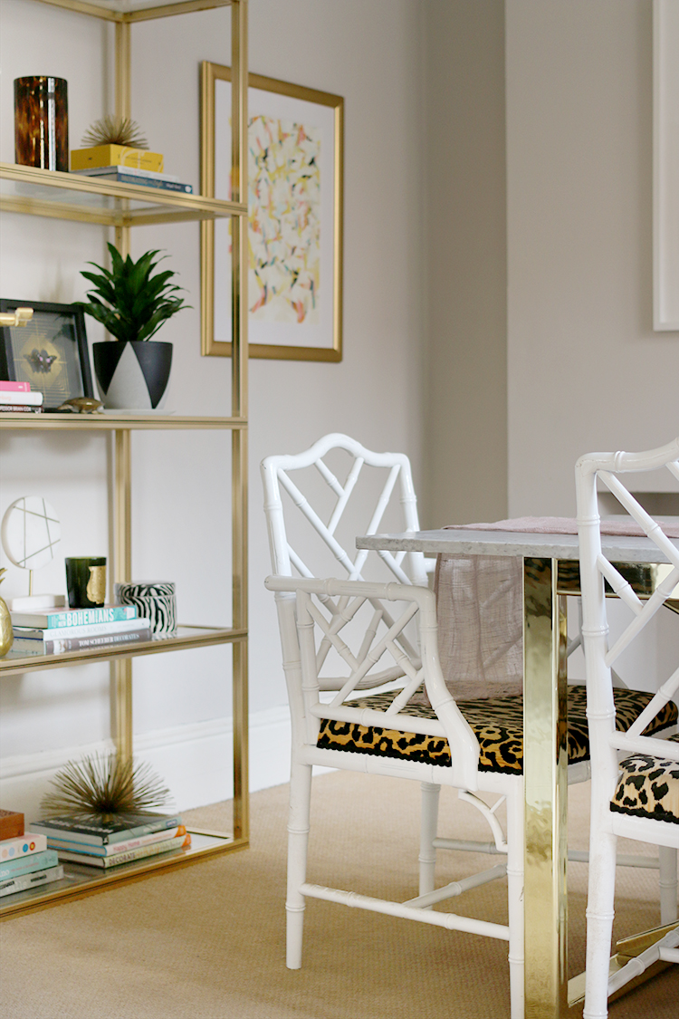 faux bamboo chippendale dining chairs with brass etagere