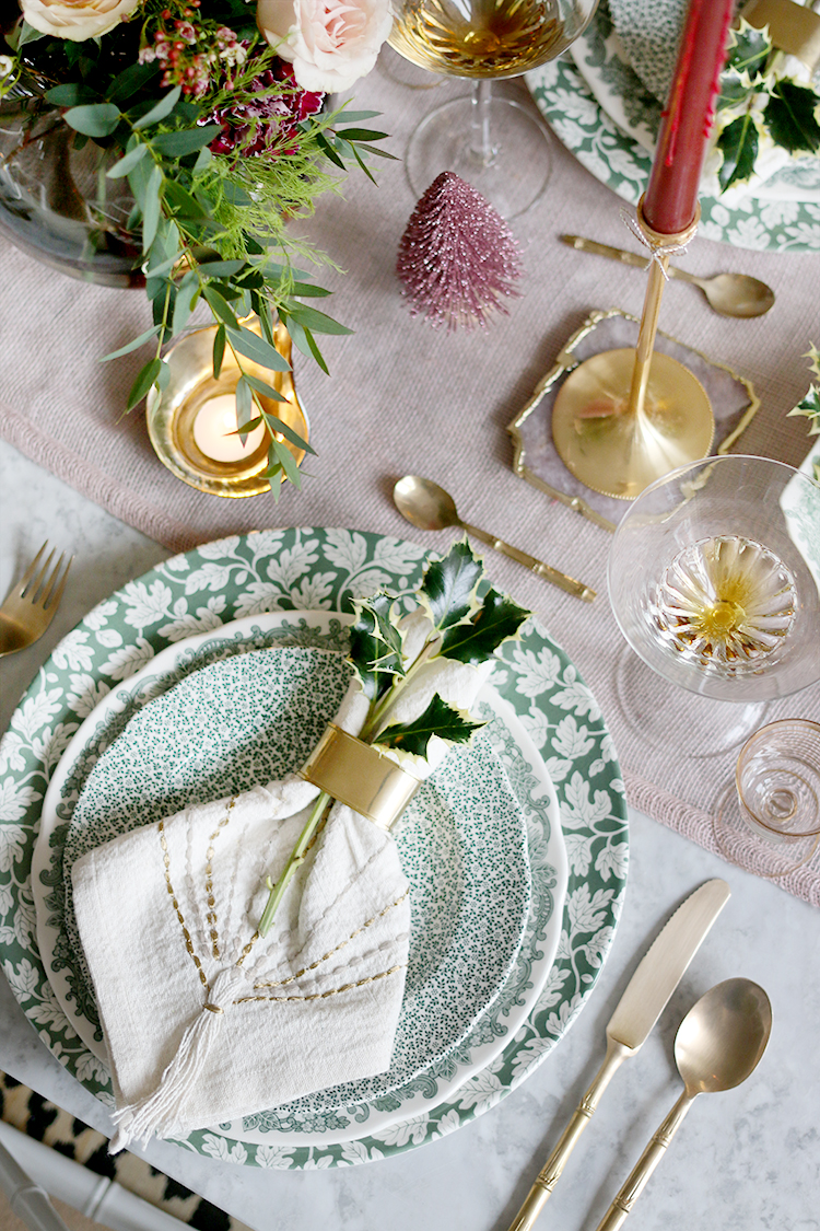 Flatlay of individual place setting Christmas dinner styling