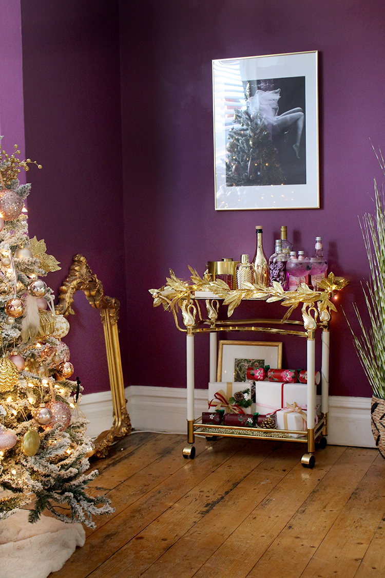 bar cart for christmas in dark purple and gold