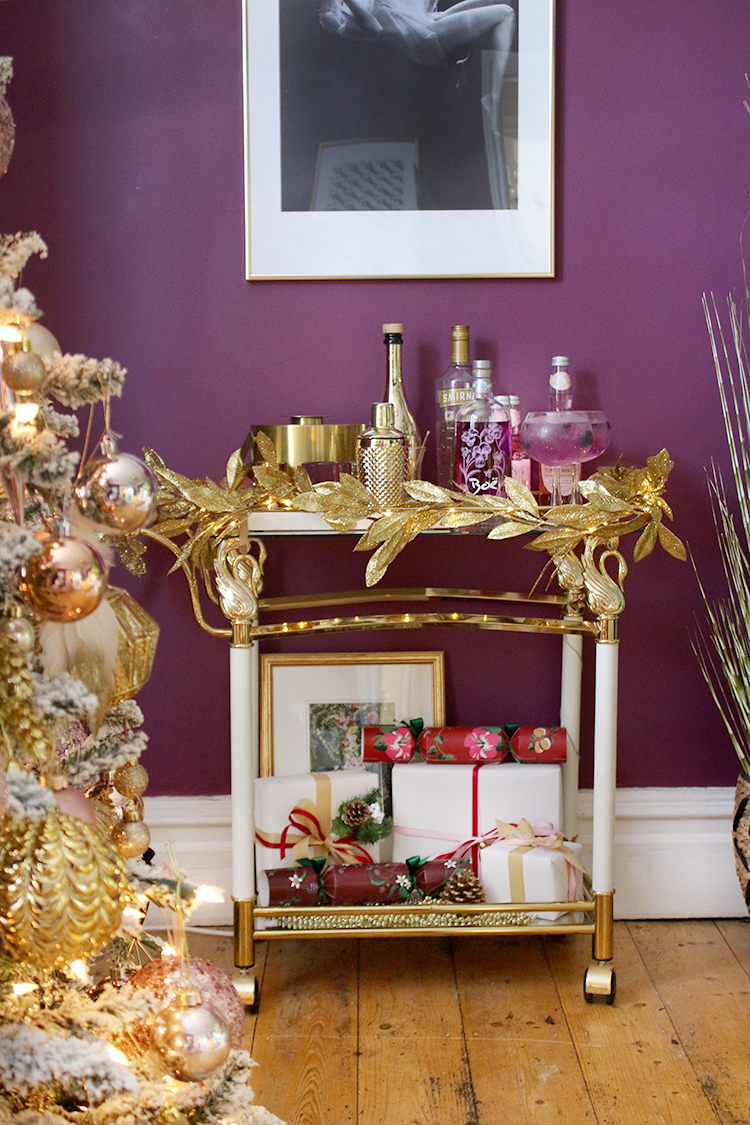 Christmas bar cart in dark purple and gold